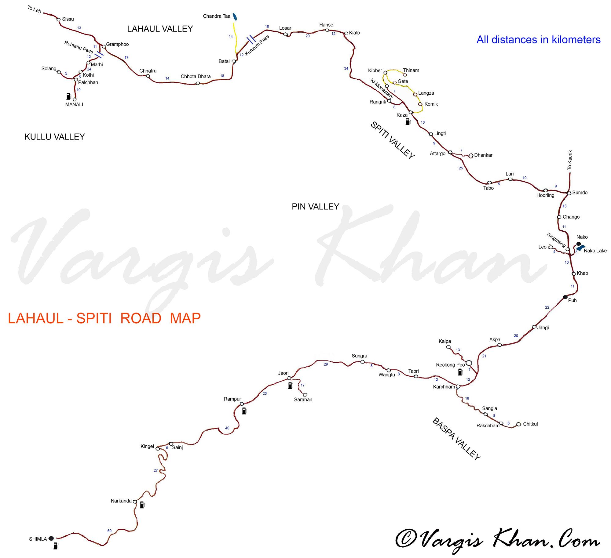 Lahaul Spiti Road Map With Distances Vargis Khan