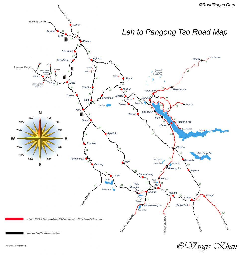 Leh To Pangong Tso Road Map