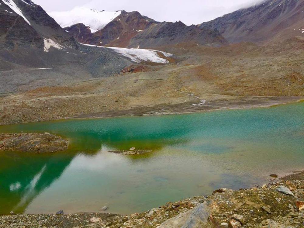 a small lake near the pass