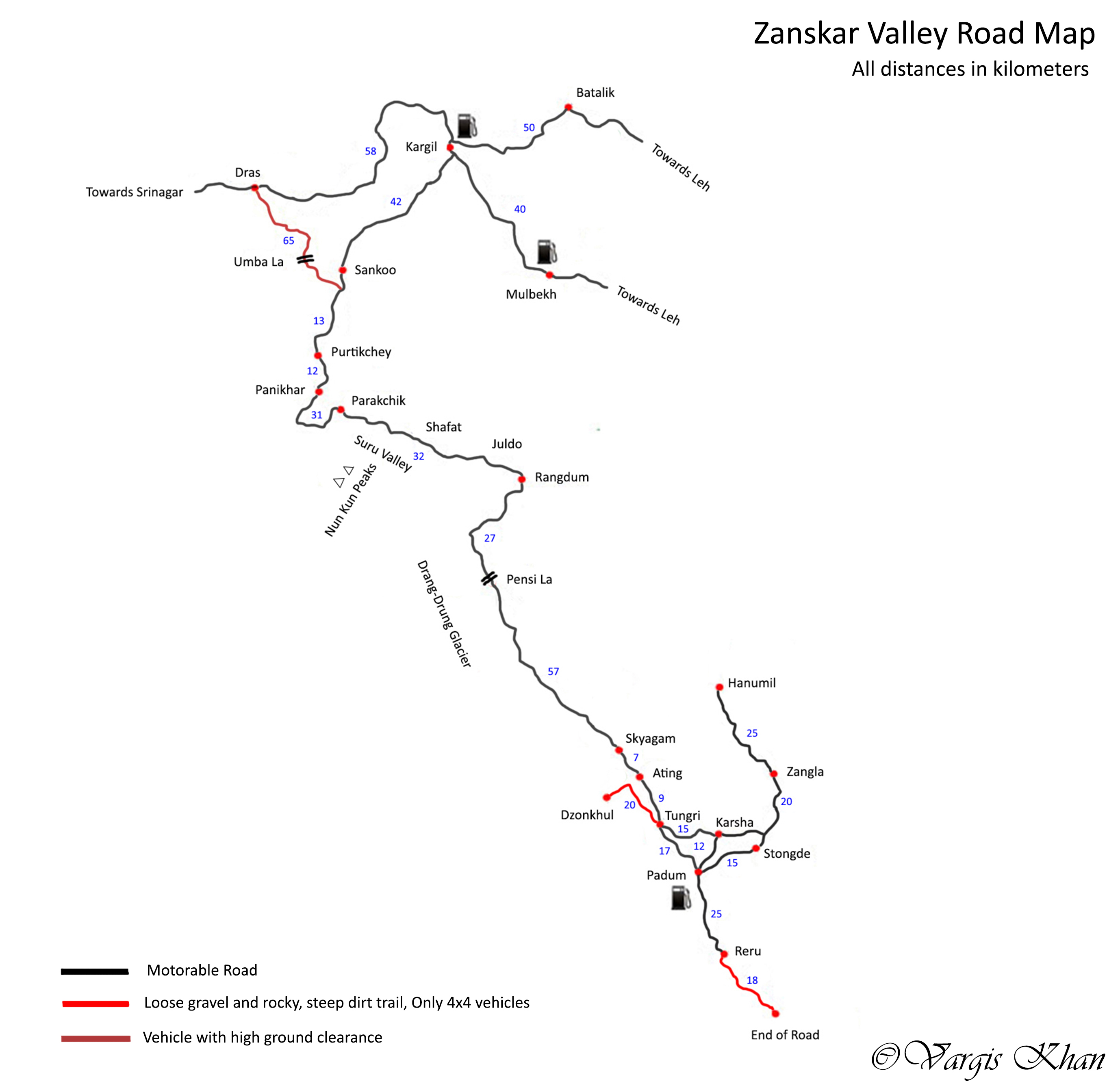 zanskar valley road map