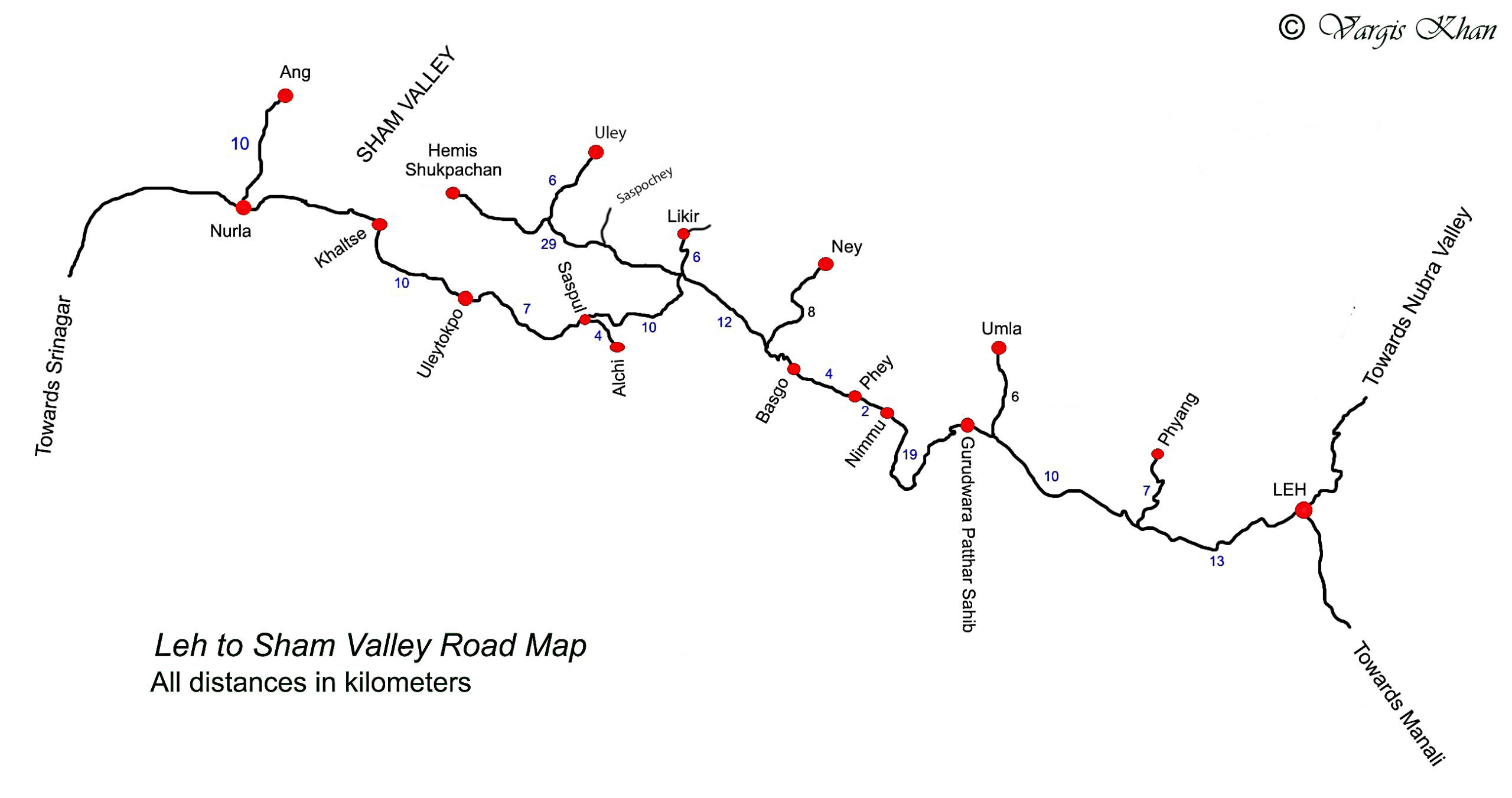 leh to sham valley road map
