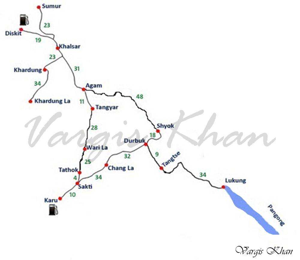 nubra valley to pangong tso route