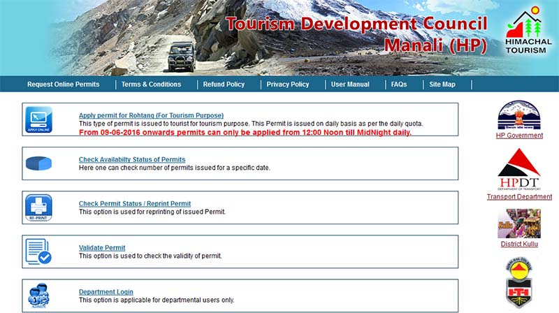how to get rohtang pass permit online