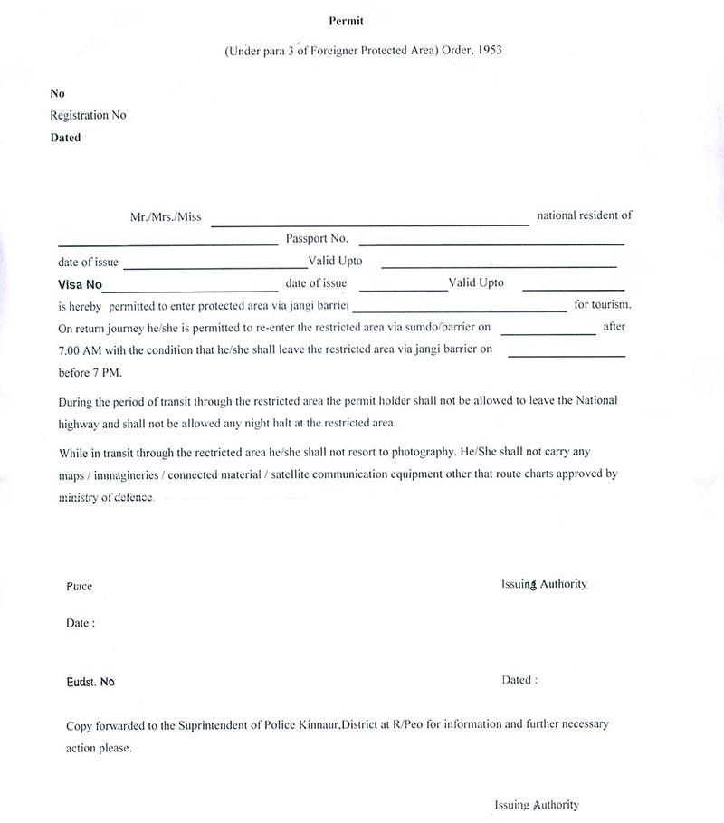 inner line permit for spiti