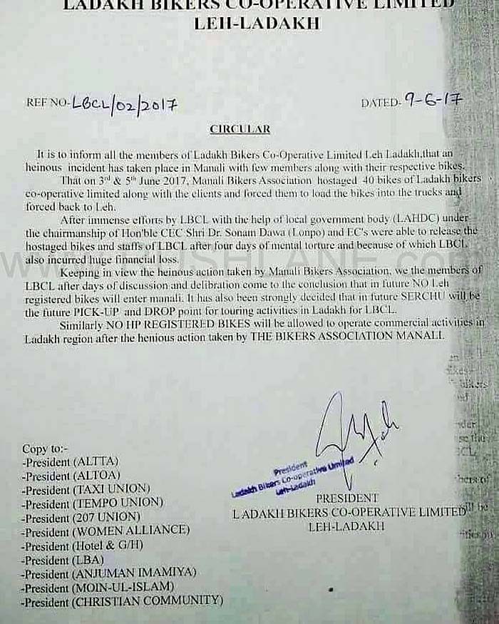 Manali Rented Motorcycles Banned in Ladakh