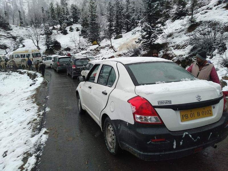 traffic jam at gulaba check post