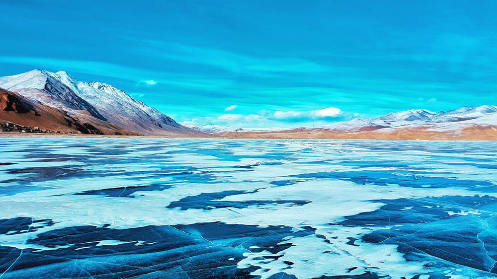 frozen pangong lake in january
