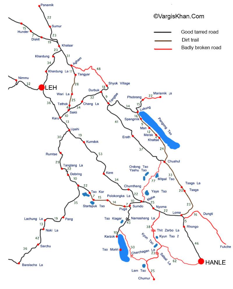 Pangong Tso to Tso Moriri Road map