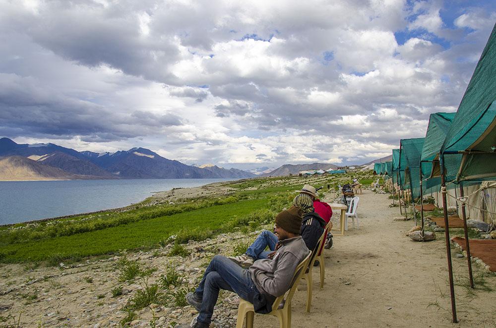 camping at pangong lake