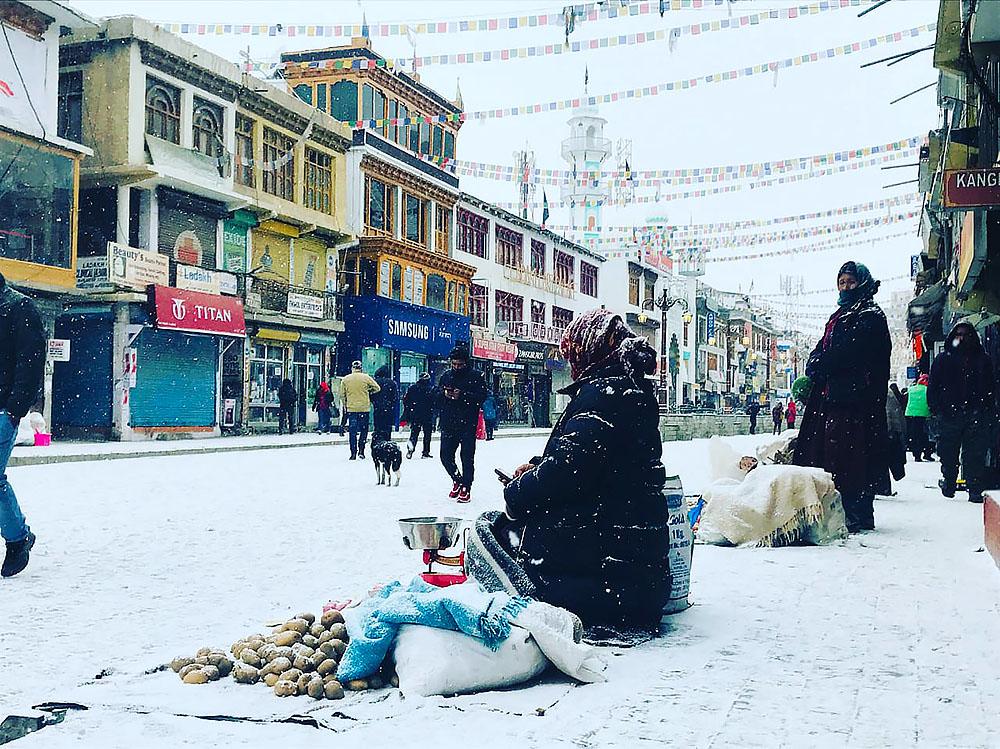 leh city after snowfall
