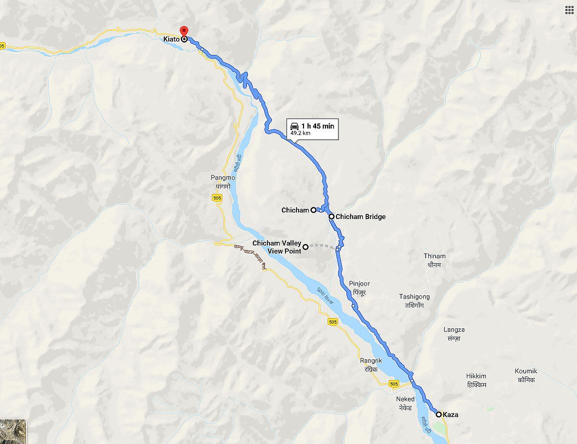 kaza to chicham road map