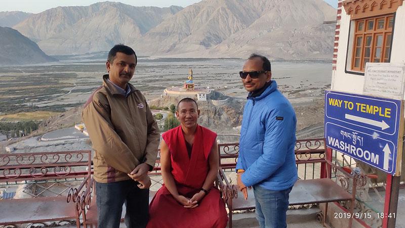 monk at diskit monastery