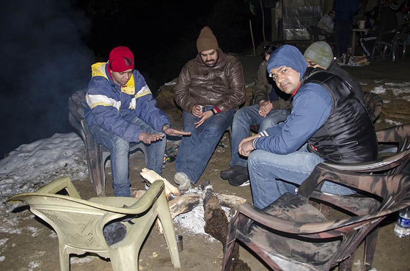 bonfire in chopta